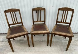 3 pcs beautiful old leather middle chairs chairs with nostalgia pieces, also for sale, collectible pieces