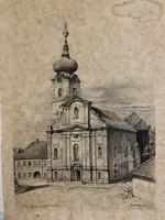 Metszet Szeged régi temploma