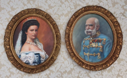 Ornate oval paired frame by Francis Joseph and his wife Queen Sissi oil painting