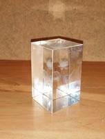3D Háromdés lézergravírozott kristályhasáb virág mintával (n)
