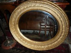 Vastag keretes, nagy méretű, szép antik biedermeier fali tükör az 1800-as évekből  98*87 cm