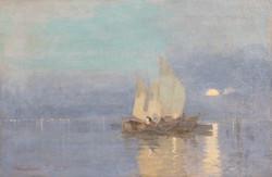 Joseph Pandúr at sunset at sea