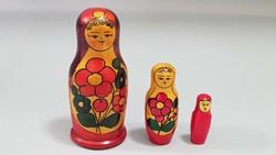 Retro matryoshka tree doll 3 pieces