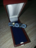 Antique silver plated stone brooch in box