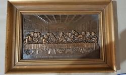 After dinner dinner in bronze relief in antique frame ..