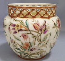 Large size zsolnay hand painted porcelain crowned pot