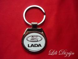 Lada oval metal keychain
