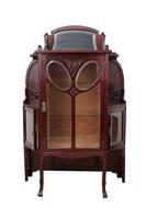 Showcase mahogany polished Art Nouveau restored