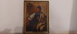 Antique signed painting on canvas, drinking shepherd