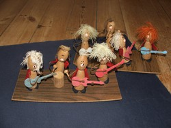 Two beat bands - wood, copper wire, yarn figurines on fiberboard