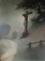 Sidelszki l .: Roadside cross, oil, canvas painting