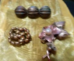 3 pcs / antique old copper - bronze brooch (oxidation)!