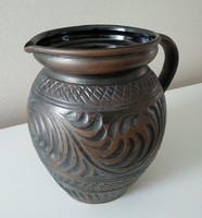 4.5 liter brown ceramic jar, jug, silk