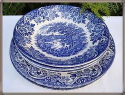 English faience blue pattern, english scene, set of 3 + 3 plates