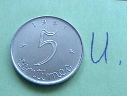 French 5 centimes 1961 c + owl #u