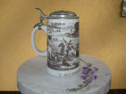 German beer krigli with hunting scene, tin roof, with l accid dent du chabseur inscription