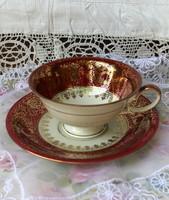Zeh scherzer bavaria ecru porcelain, burgundy-gold painted tea set