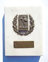 Sparta Athletics Club dr. Miklós Mártonffy's traveling award 1935. Bronze plaque on a marble slab