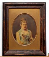 Lánykaportré, kifestett XIX. sz-i fotó, bűbájos