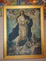 Large, 100-year-old painting, in the wake of oil, canvas, murillo