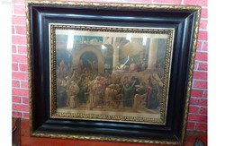 Munkácsy mihály-ecce homo print in gilded wooden frame