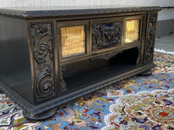 Antique historicist carved display case with large drawer wooden desk