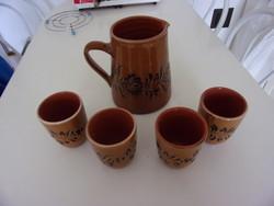 Wine jug with 4 glasses, maybe with a motif from Hódmezővásárhely