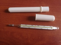 Old mercury thermometer in a plastic case