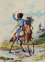 Hussar, excellent watercolor, marked
