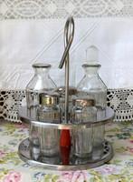 Asztali só bors paprika ecet olaj tartó, fűszer kínáló, fűszertartó, üveg tartók és fém állvány