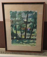 Kovács Ferenc - erdei táj akvarell
