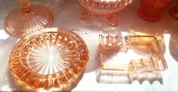 Old glass ashtray pink ashtray ashtray 2 pcs