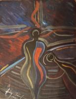 Szignált absztrakt festmény 1969-ből