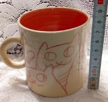 Kittens in love (cats) - handmade porcelain mug, cup, glass