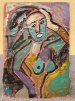 Miklós Németh original, abstract female nude 71.5x100.5 cm
