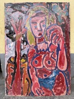 Miklós Németh original female abstract nude, balázs collection 71,5x101,5 cm