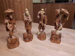 Special wooden, hand-carved wooden sculptures depicting 4 ancient Chinese occupations