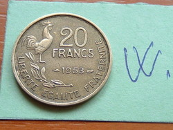 French 20 French Franc 1953 (g. Guiraud) 4 feathers, rooster #w