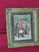 Miniature antique watercolor painting in beautiful copper frame