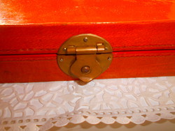 Chinese lacquered wooden box with metal fittings 27 cm x 14 cm