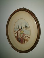 Alexander the Great (1869-1950), antique watercolor painting, oval frame.