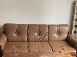 Retro, minőségi ülőgarnitúra szett tömörfa asztallal