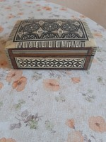 Fabulous antique mother of pearl inlaid wooden chest