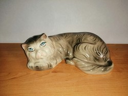 Old Soviet - Russian Verbilki porcelain art deco cat kitten figurine 19 cm long (po-3)