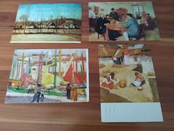 At the same time the 4 painting postcards, János Vaszary, bright adolf, Gyula Rudnay, Sándor Bihari
