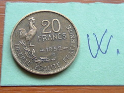 French 20 French Franc 1952 b (b - g. Guiraud) 4 feathers, rooster #w