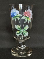 Antique, Biedermeier, hand enamel painted, blown, stemmed glass, chalice