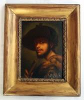 Renaissance style man portrait - with illegible sign