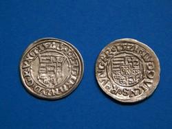 Ezüst denárok II. Lajos 1521 és I. Ferdinand 1546 Körmöczbánya