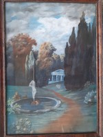 Autumn park with female figure fountain, old pastel, unknown